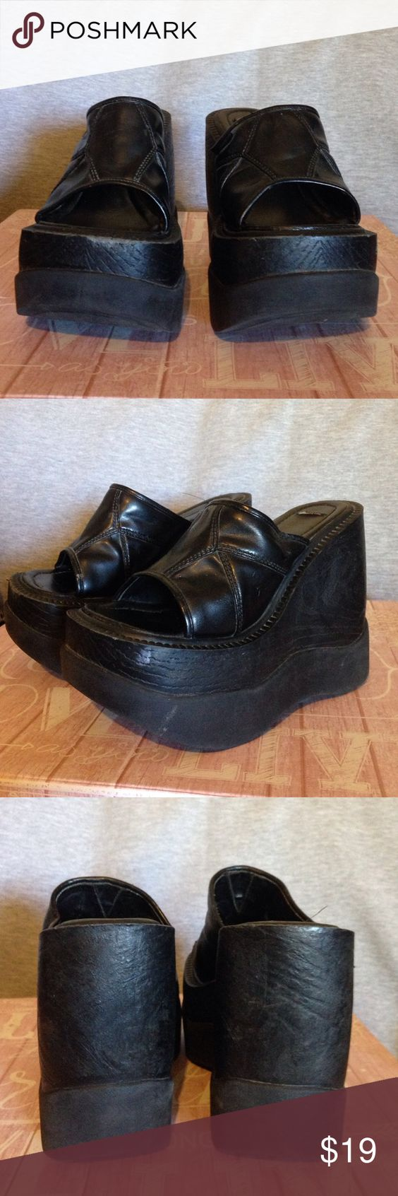 Black funky platform wedges! Size 7.5 Black funky platform wedges! Size 7.5  There is no actual size on the shoes but I wear a 7.5 and they fit perfect! Shoes Platforms
