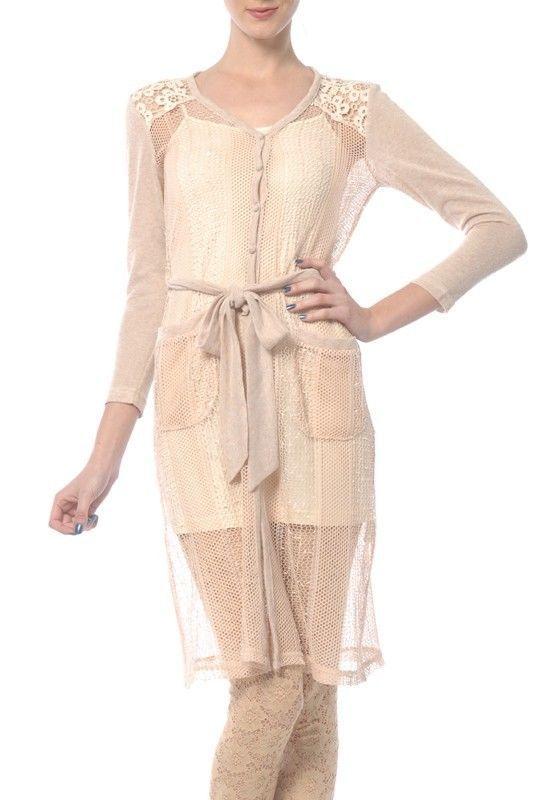 001129b08ae Ryu Anthropologie Beige Lace Crochet Long Sheer Cardigan Blouse Top ...