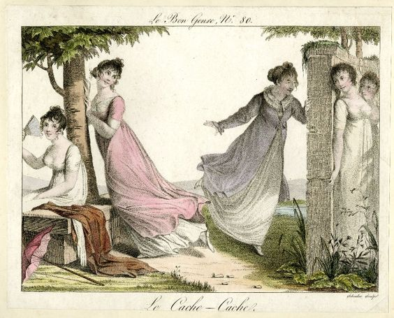 Plate 80: a group of five ladies playing hide-and-seek in a walled garden. July 1815 Hand-coloured etching: