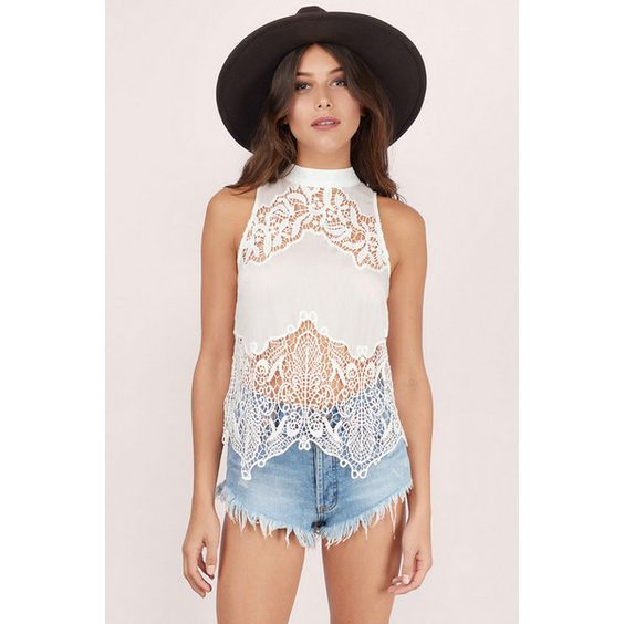 Tobi Truette Embroidery Lace Top ($98) ❤ liked on Polyvore featuring tops, ivory, scalloped top, lace sleeveless top, ivory top, embroidered top and ivory lace top
