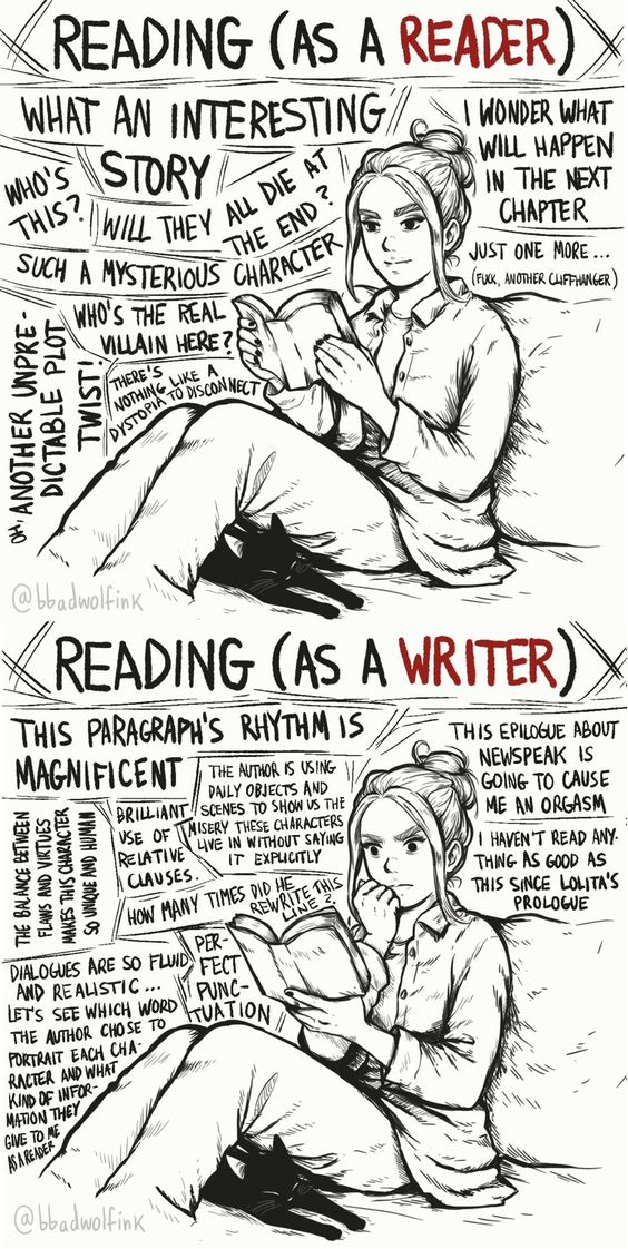Reading as a reader vs. reading as a writer #cartoon