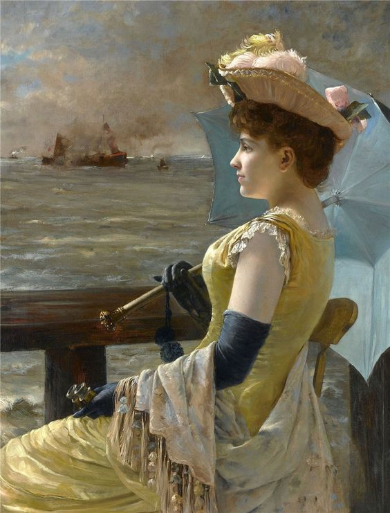 Alfred Émile Léopold Stevens (1823–1906) —  Looking Out to Sea  (827x1078):