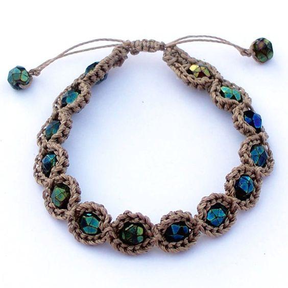 Crochet Jewelry Bohemian Bracelet  adjustable Earthy by GlowCreek, $16.00
