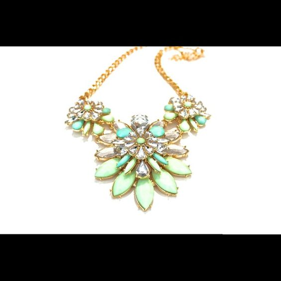 🎉SALE🎉The Mint Collection Antique Necklace Beautiful gold necklace with mint colored accent stones. A statement piece perfect for spring!! Jewelry Necklaces