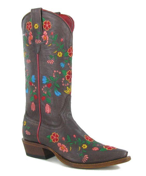 Macie Bean Rustic Brown Flower Girl Boot - Women by Macie Bean #zulily #zulilyfinds