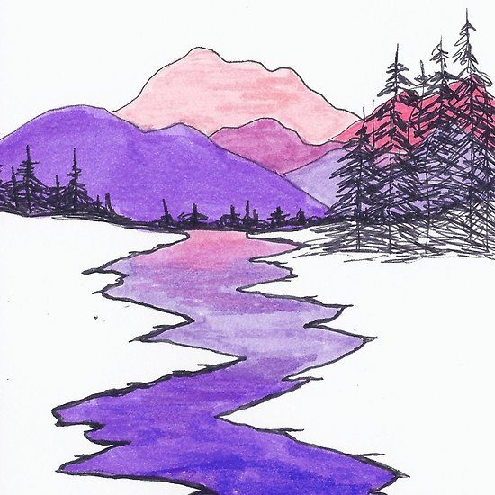 Landscape Drawing Of Mountains River Hills And Trees Using Ink And Markers Hardcover Journal By Brooke Simpson Landscape Drawings Mountain Drawing Nature Drawing
