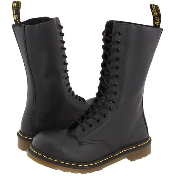 Dr. Martens 1940 Work Lace-up Boots, Black (£52) ❤ liked on Polyvore featuring shoes, boots, black, black lace up boots, cap toe boots, slip resistant boots, black cap toe boots and lace up shoes