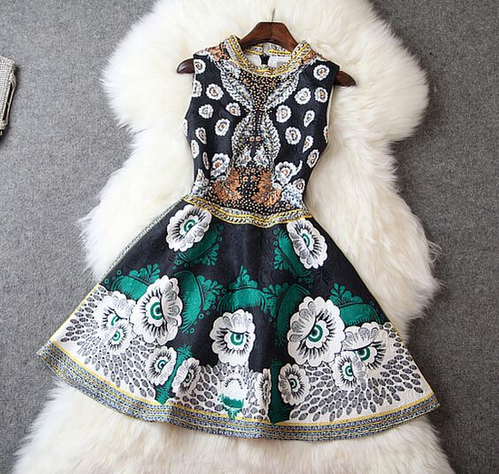 Jacquard handmade beads Slim dress