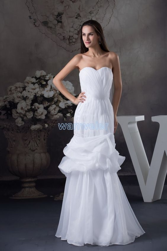 White Floor Length Organza Sweetheart Mermaid Evening Dress With Flowers And Shirring(ZJ6076)