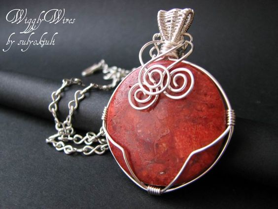Silver Plated Wire and Coral Pendant