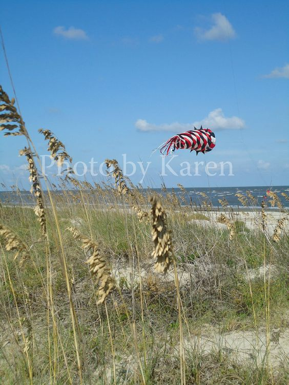 The breeze lifts the kite as it mimics the weeds growing on the dunes of Jekyl Island, off the coast of Georgia.