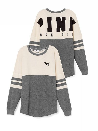 VS PINK Varsity Crew-I seriously can't stop buying these there so comfy and easy.. just throw some leggings on! Love it!!