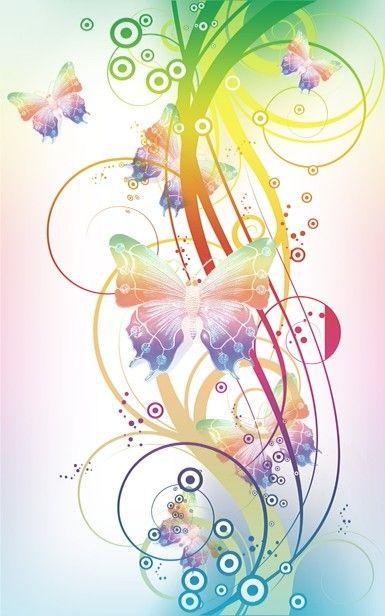 Musica,mariposa y un monton de colores una bonita: