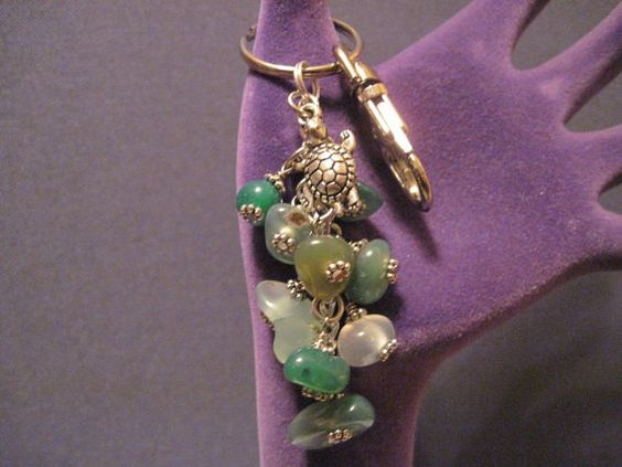 Green Agate Stone Purse Charm / Key Chain by FoxyFundanglesByCori, $10.00