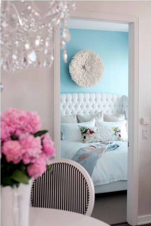 Pretty // Girly Glam Bedroom // Wall Pouf // Tiffany Blue