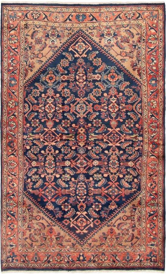 4 4ft X 7 1ft Vintage Handwoven Persian Area Rug Or Runner Rug Hand Knotted Wool In Copper Orange Pink Tan Navy Bo Persian Area Rugs Rugs Vintage Persian Rug