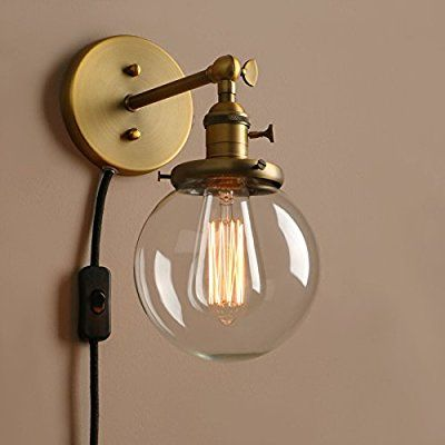 Pathson Industrial Vintage Glass Globe Wall Light Sconce Plug In Lamp Fixture Corridor Lighting With Switc Globe Wall Light Wall Sconce Lighting Lamps Fixtures