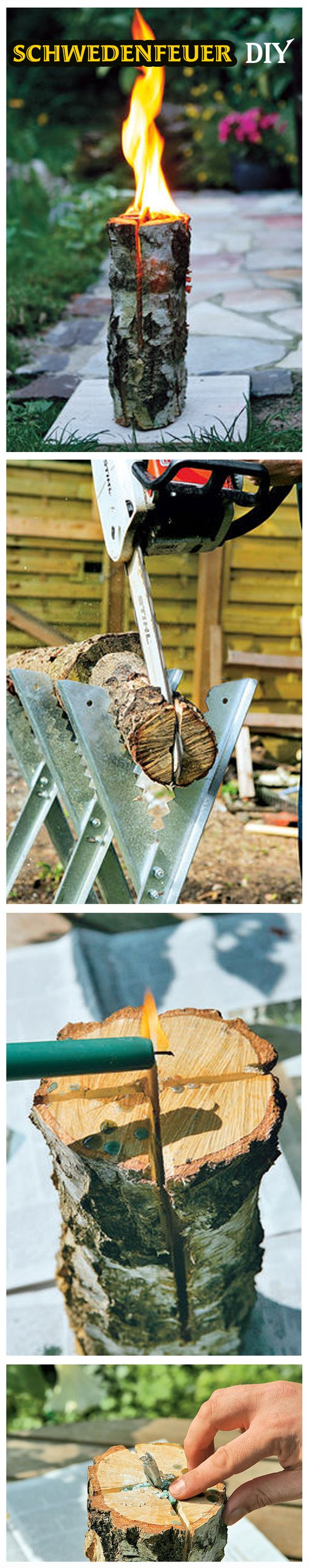 Baumfackeln, auch bekannt als Schwedenfeuer, sind ein gute Alternative zum Lagerfeuer im Garten – und schnell zu machen. Wir zeigen, wie man die Gartenfackel selbst baut.
