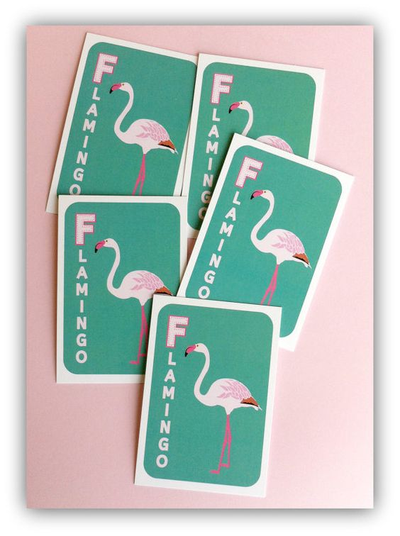 Flamingo Mini Cards  5 pieces by SPRIGSTWIGS on Etsy