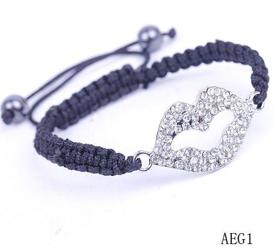 $1.67  Silver Lip Black Nylon Crystal Hematite Bracelets Jewelry Gift