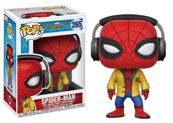 Spider Man Homecoming Funko Pop With Headphones And Yellow Jack