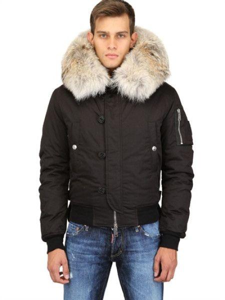 Men&39s Black Nylon Canvas Down Jacket W Fur Collar | In love