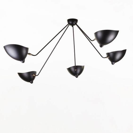 5 Arm MCL-SP5 Spider Ceiling Lamp - Serge Mouille Mid Century Ceiling Lighting #midcentury #sergemouille http://www.franceandson.com/5-arm-mcl-sp5-spider-ceiling-lamp.html