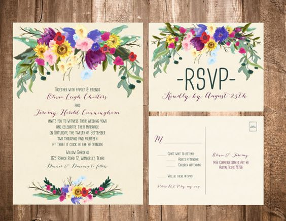 With daisys and mums    BOHEMIAN FLOWERS WEDDING INVITATION SET    FORMAT:  A7 - Invitation  A2 - RSVP Postcard    How it all works: Although we're more than happy to