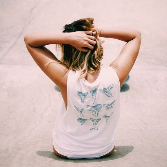 RVCA shark tooth tank Worn once shark muscle tank by rvca! So cute for shark lovers size small RVCA Tops Muscle Tees