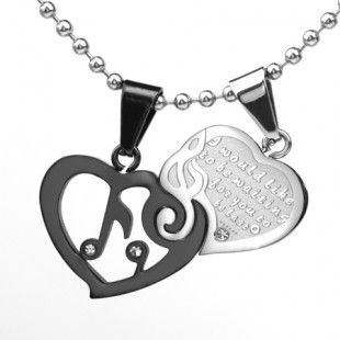 Interlocking Music Love Couple Necklace Gift - gulleitrustmart.com