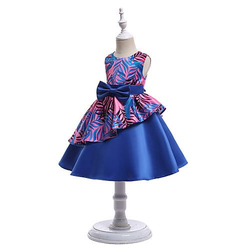 Kids Girls' Active Party Going out Floral Bow Sleeveless Dress Blue / Cute  2021 - US $24.19   Kids fashion dress, Little girl princess dresses, Kids  party dresses
