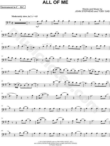 """John Legend """"All of Me - Bass Clef Instrument"""" Sheet Music (Cello, Trombone, Bassoon, Baritone Horn or Double Bass) - Download & Print"""