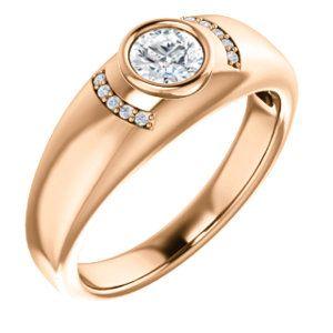 14kt Rose 1/2 CTW Diamond Men's Bezel Ring