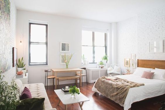 "It's Official: This Is How A Studio Apartment Should Look #refinery29  http://www.refinery29.com/homepolish/69#slide-1  ""My initial idea was to go fully minimalist with a natural, wabi-sabi-inspired space,"" Julia says of her home design. ""My theory on minimalism, however, is that it tends to get expensive because if you only have three pieces of furniture in your home, they better be top of the line. So instead of going that route, I ended up working around two existing pieces that I loved…"