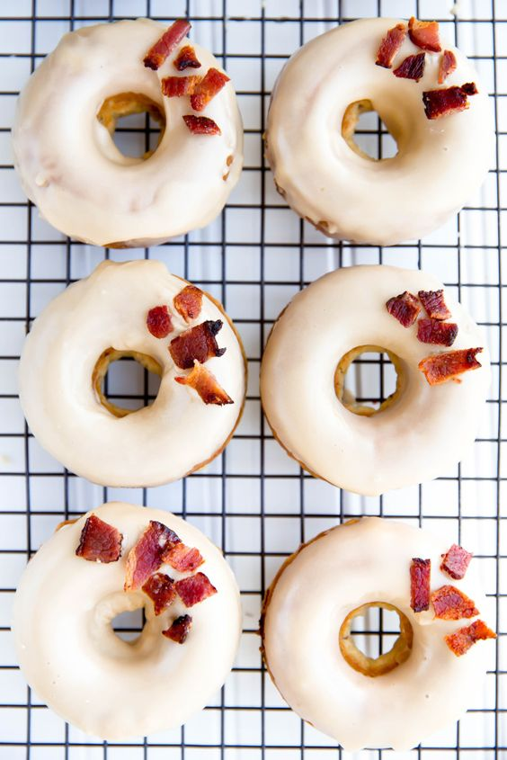When you can't decide between savory and sweet, choose baked Maple Bacon Donuts! Because everything is better with a little bacon.: