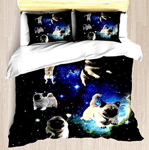 Ntcbed Space Pugs Duvet Cover Set Soft Comforter Cover Pillowcase Bed Set Unique Printed Floral Pattern Design Duvet Covers Blanke Decor Home Decor Furniture
