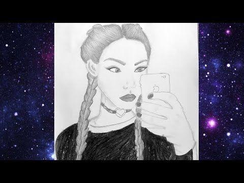 تعليم الرسم بالرصاص رسم فتاة تأخد سيلفي Draw A Girl Taking Selfie By Iphone Pencil Sketch Youtube Girl Sketch Sketches Pencil Sketch