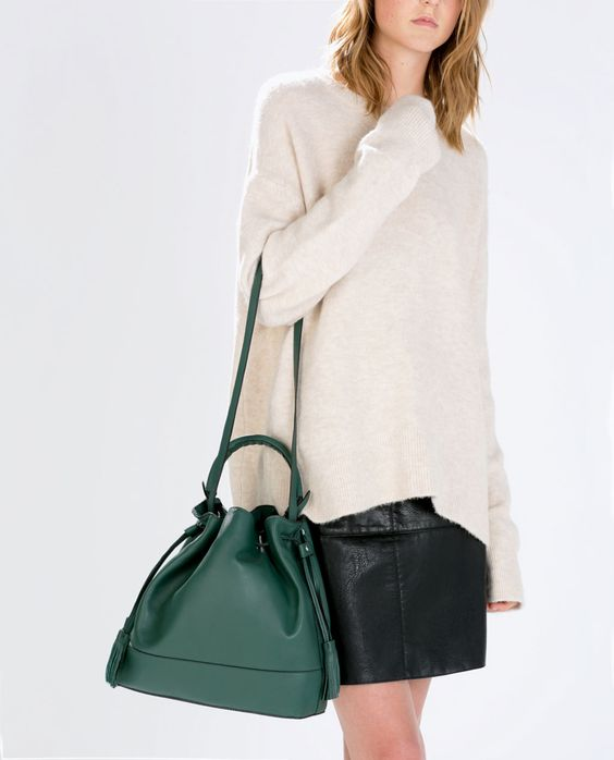 LEATHER BAG WITH RIGID HANDLE-Handbags-Woman-SHOES & BAGS | ZARA United States