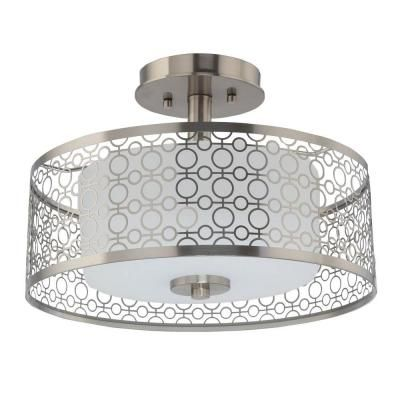 home decorators collection 1 light brushed nickel led semi flush mount light 7914hdc