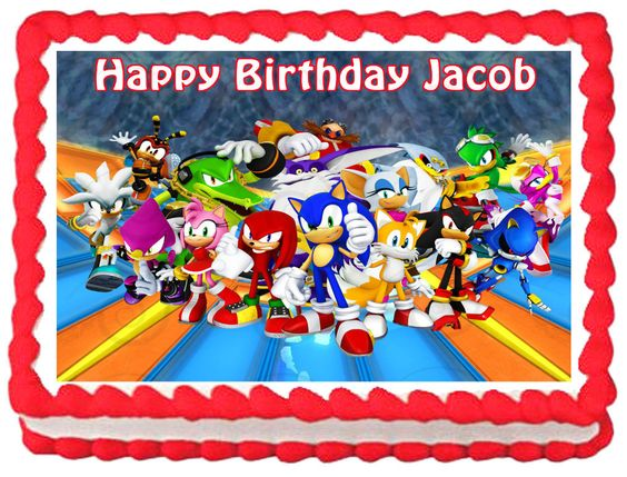 SONIC THE HEDGEHOG Edible image Cake topper por SweetiesCakeToppers