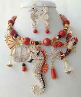 Crystal Nautical Necklace Betsey Johnson Seahorse Lobster Anchor One of a Kind