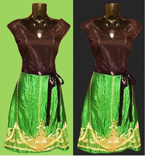 mulier-flos / black@green dress with traditional Indian zari embroidery