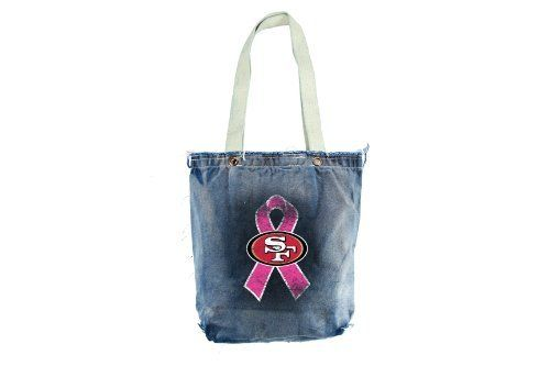 """NFL San Francisco 49ers BCA Vintage Shopper (Black) by Littlearth. $12.02. A Crucial Catch- Annual Screening Saves Lives. The NFL and Littlearth are supporting the American Cancer Society in its efforts to create a world with less breast cancer and more birthdays. Please visit nfl.com/pink to learn more. Measures: 11"""" x 3.5"""" x 14"""". 100% Cotton Canvas. Large Full Color Transfer. Hand Wash. Line Dry. 12"""" Handle Drop. Genuine frayed edges; hand-distressed wash; inter..."""