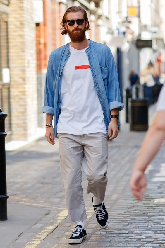 A cool laidback streatwear summer casual inspired look spotted in London during LFWM 2017.