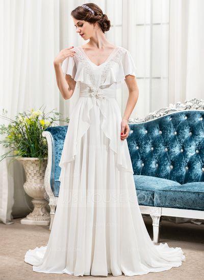 A-Linie/Princess-Linie V-Ausschnitt Sweep/Pinsel zug Chiffon Brautkleid mit…