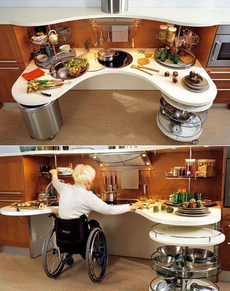 Wheelchair accessible kitchen workspace cre8ive medical for Wheelchair accessible kitchen cabinets