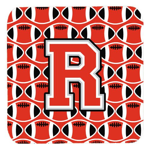 Letter R Football Scarlet and Grey Foam Coaster Set of 4 CJ1067-RFC