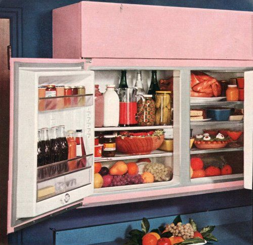 Cool Vintage 1950s 50s Pink Milk Retro Interior Interior Design Rare Soda Refrigerator Futuristic Kitchen Inspiration Modern Retro Kitchen Refrigerator Freezer