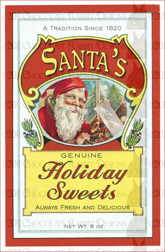 Christmas Candy Labels | ... vintage style original art christmas candy holiday label