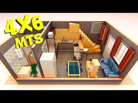Plano De Casa 4x6 Metros Youtube Diseno Casas Pequenas Casas Para Alquilar Casas